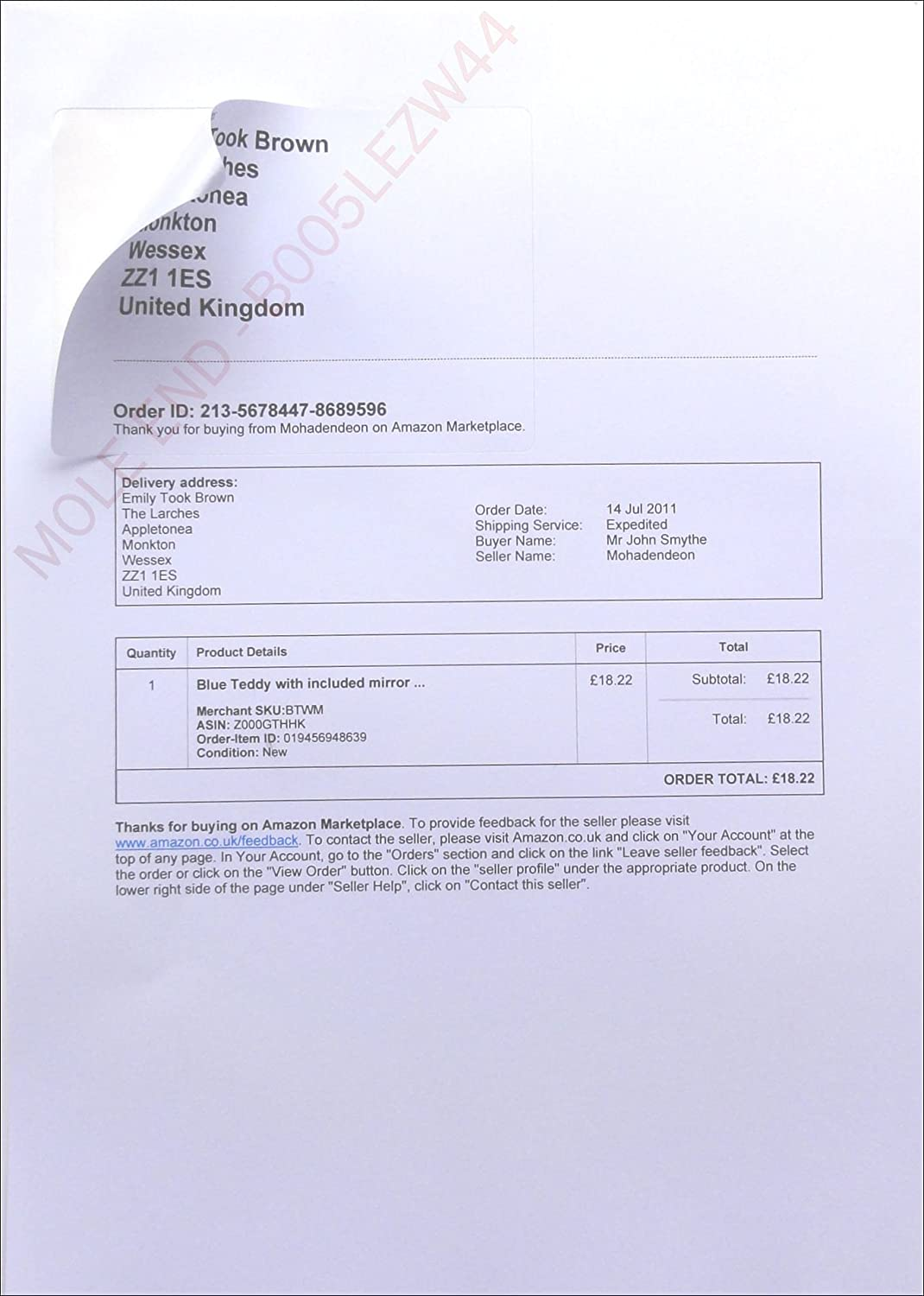 box of x a integrated address label despatch note invoice amazon despatch note invoice integrated label paper invoice peel off label for amazon sellers