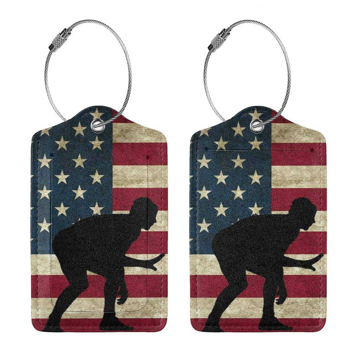American Flag Wrestling Proud Wrestler Luggage Tag Label Travel Bag Label With Privacy Cover Luggage Tag Leather Personalized Suitcase Tag Travel Accessories