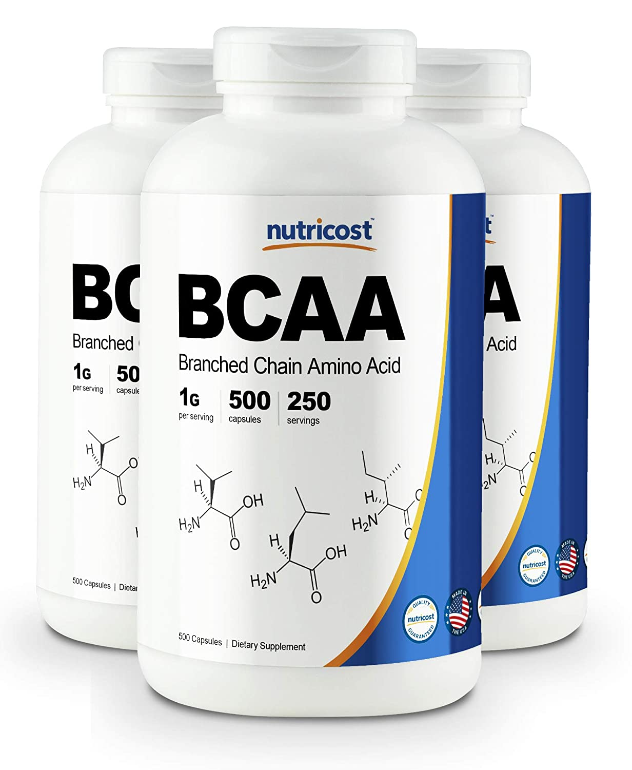 Nutricost BCAA Capsules 2 1 1 500mg, 500 Caps 3 Bottles