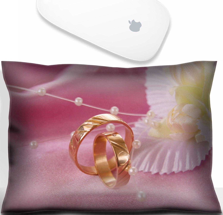 Luxladyマウス手首残りオフィス装飾手首Supporter枕結婚ゴールデンリングwith装飾onピンクサテン。イメージ: 3399799   B07D8J9MPM