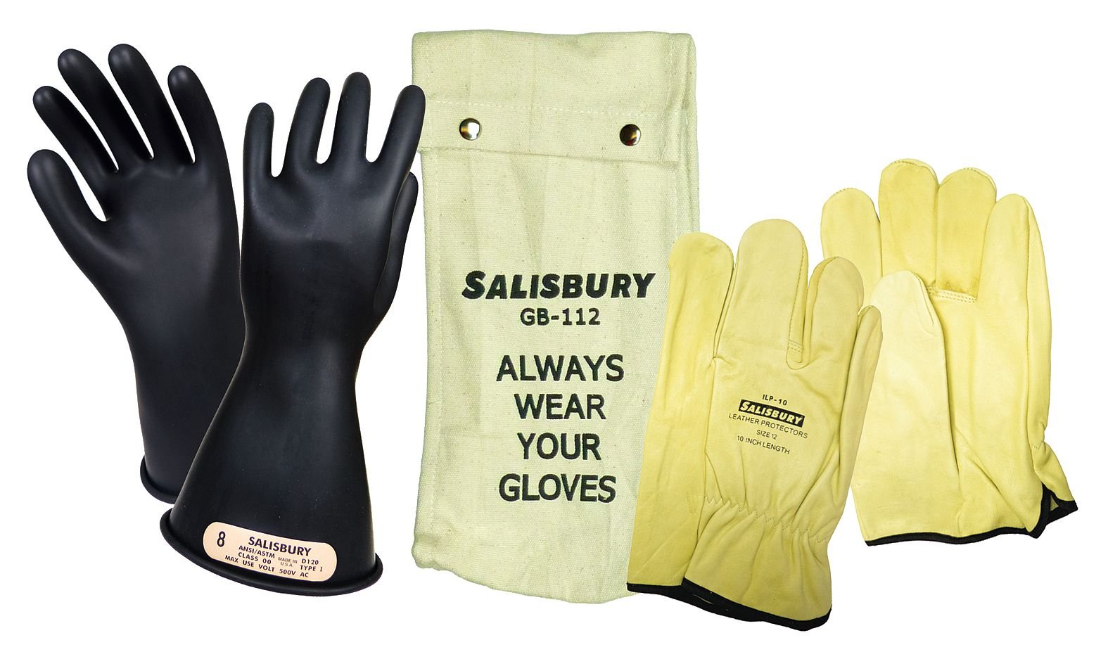 Salisbury Black Electrical Glove Kit, Natural Rubber, 00 Class, Size 10 10 Natural Rubber GK0011B/10 - 1 Each