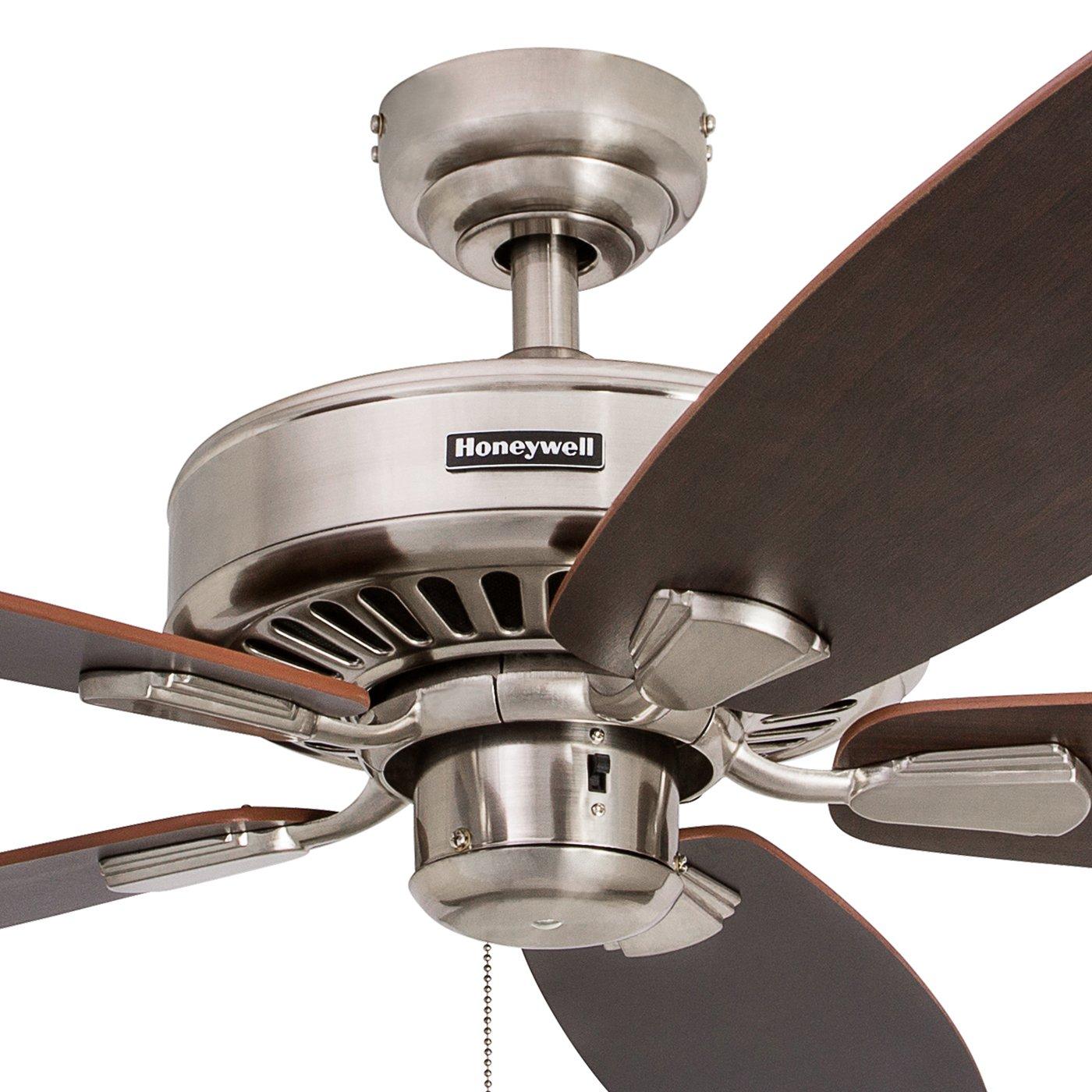 Honeywell Sutton 52-Inch Ceiling Fan, Energy Star Certified, Five Reversible Burnt Maple Light Oak Blades, Brushed Nickel
