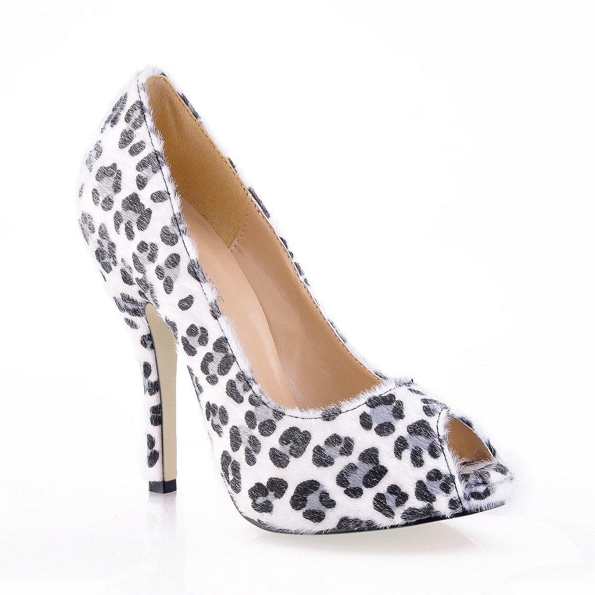 Fare clic su donna autunno nuovo nightclub punta pesce pesce pesce calzature donna per grandi leopard panno privo di fine ed alta scarpe tacco, nero su strisce bianche eb4f90