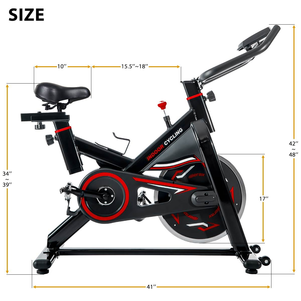 Merax Deluxe Indoor Cycling Bike Cycle Trainer Exercise Bicycle (Black & Red) by Merax (Image #7)