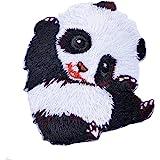 Souarts 1PC Motif Cartoon Panda Écusson Brodé Patch Thermocollant pr DIY Denim Fabric 5.5cmx5cm