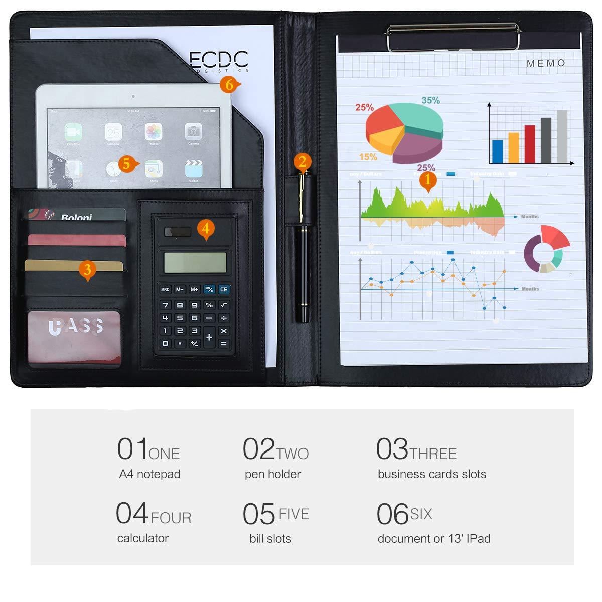 Leathario Cartella Portadocumenti A4 in Ecopelle Unisex Portablocchi Organizer per Blocco Note Quaderno A4 Lavoro con Calcolatrice Organizzatore Personale