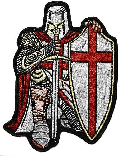 ecusson templier Chevalier Croix Rouge catholique ep/ée Bouclier 10x8 cm chretien Malte Biker