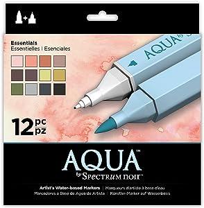 Spectrum Noir Aqua Artist's Water Based Dual Nib Marker Coloring Pens, Essentials, Pack of 12
