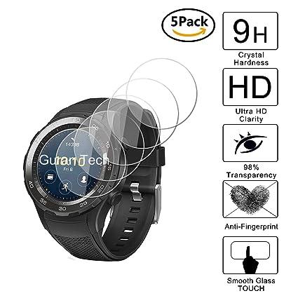 Guran [5-Unidades] Protector de Pantalla Vidrio Cristal Templado para Huawei Watch 2 Sport (Bluetooth) Smartwatch Cristal Vidrio Templado Film (9H, ...