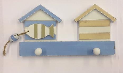 Perchero de madera diseño de casetas de playa 20 cm TY/2792