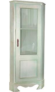 vetrinetta mobile angolare ad angolo mobiletto con plexiglass 3 ripiani verde acqua shabby chic vintage