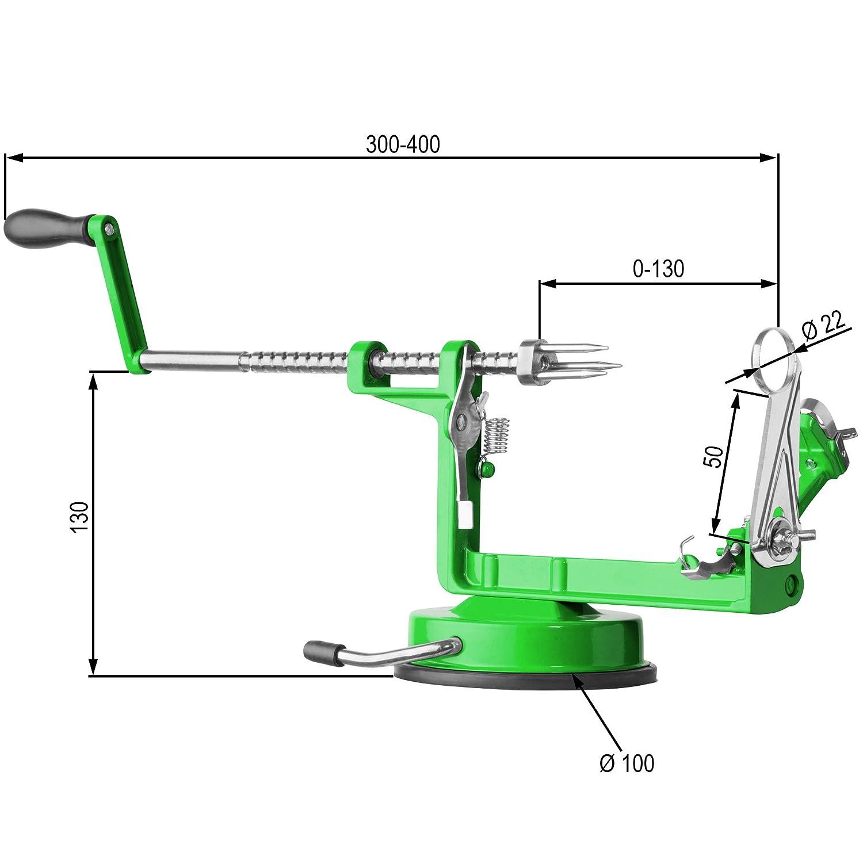 Compra TecTake Pelador de manzanas 3 en 1 | Máquina para pelar quitar pepitas y cortar manzanas | -disponible en diferentes colores- (Verde | no.