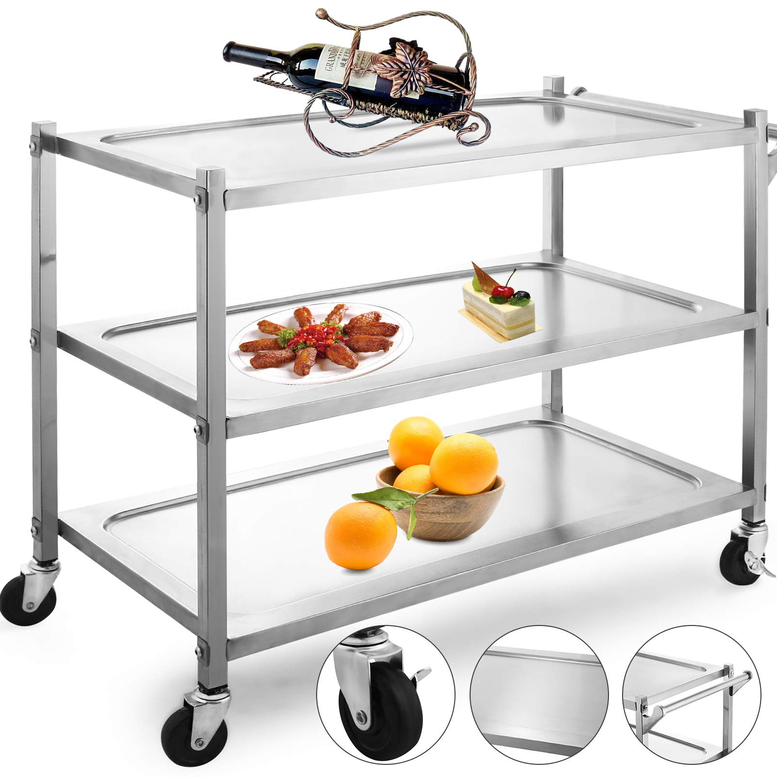 VBENLEM Utility Cart 3 Shelf Utility Cart on Wheels 330Lbs Stainless Steel Cart Commercial Bus Cart Kitchen Food Catering Rolling Dolly with Single Handle