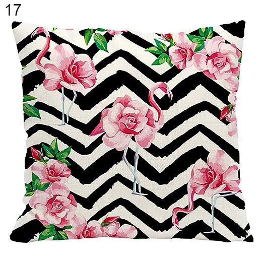 Corazón altavoz Flamingo patrón de lino funda de almohada ...