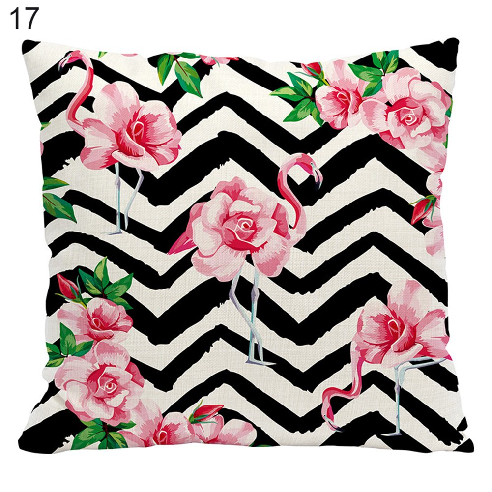 Quietcloud Fashion Pineapple Leaf Flamingo Pattern Linen Pillow Case Square Cushion Cover (17#)