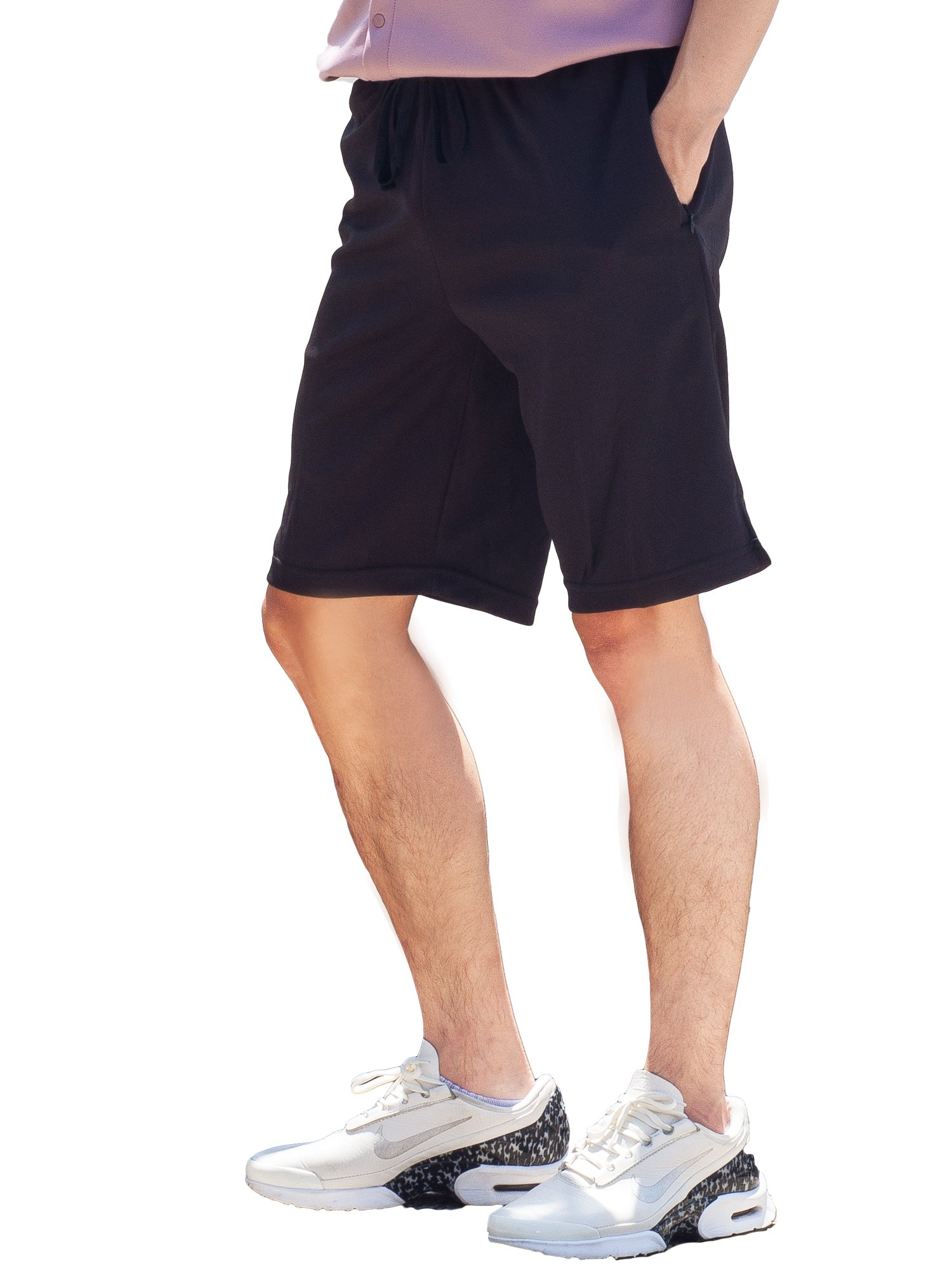 Mens Shorts with Zipper Pockets Quick Dry Travel Shorts (Large, Black)
