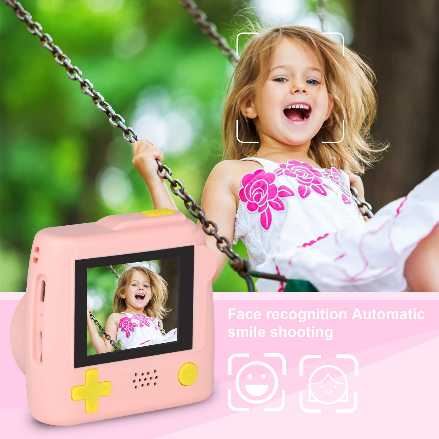 Kids Camera Gifts for 4-8 Year Old boys or girls, Great Gift Mini Child Camcorder for children with Soft Silicone Shell and 5 Mega pixel front lens 2.0 inch HD screen (32G TF card not included) by eyesen (Image #4)