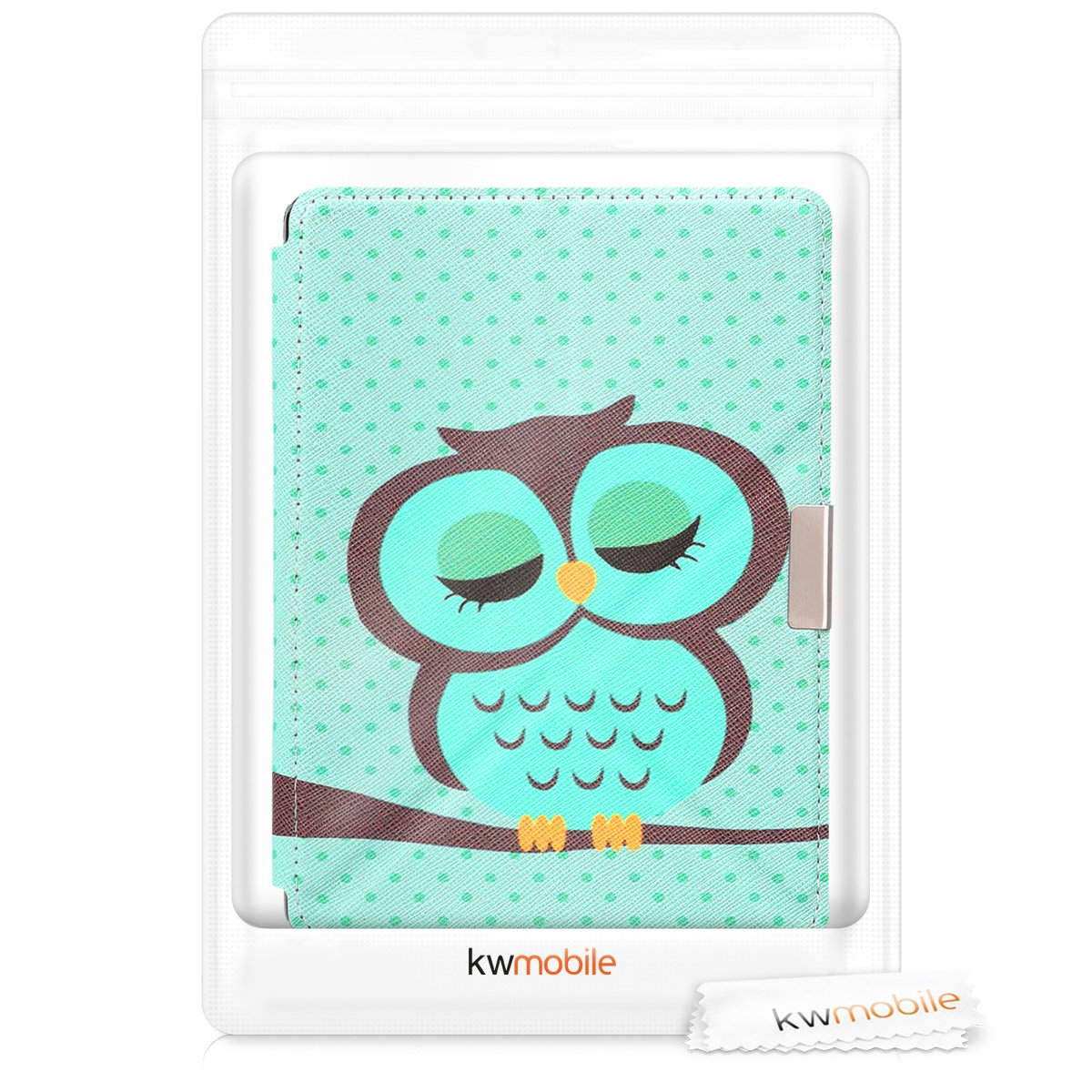 kwmobile Cover case for Kobo Aura Edition 2 with stand - Ultra slim case made of synthetic leather Sleeping Owl in turquoise brown mint by kwmobile (Image #8)