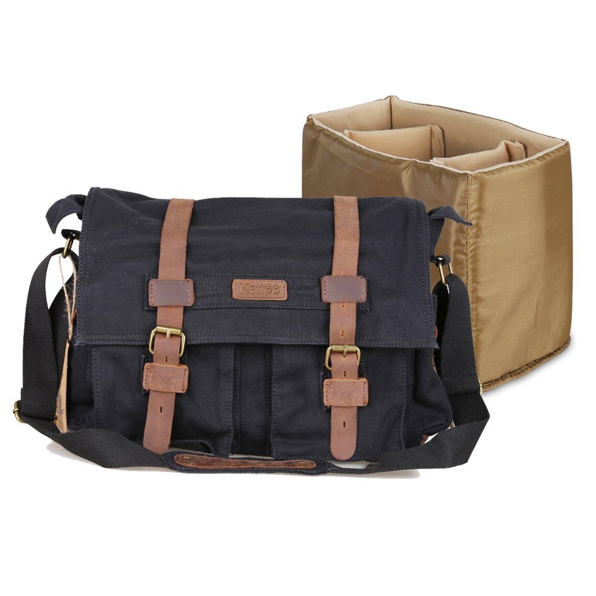 Kattee Men s Canvas Leather DSLR SLR Vintage Camera Messenger Bag   Amazon.co.uk  Luggage 61c5afa0ab3d8