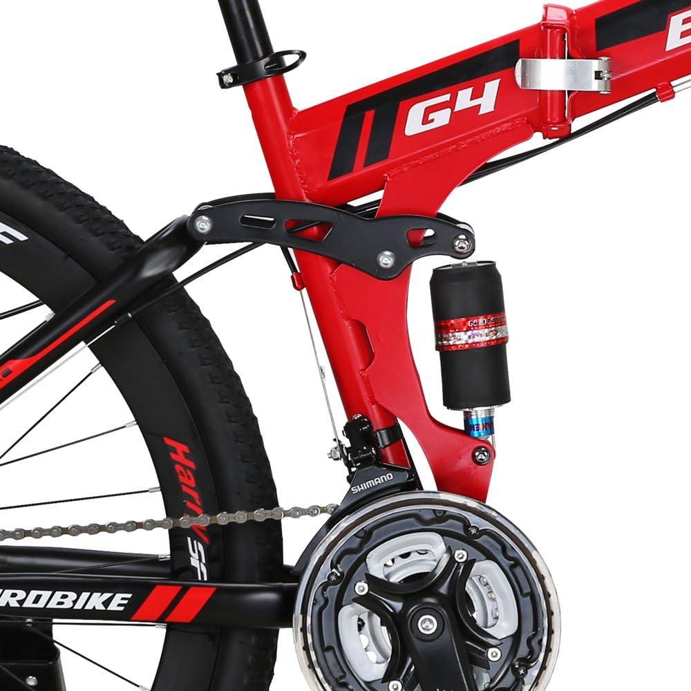 Eurobike Bikes HYG4 21 Speed Folding Mountain Bike 26 Inch Muti Spoke Wheels Dual Suspension Bicycle