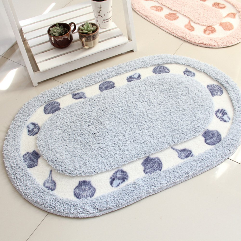 15.7inch by 23.6inch, Blue Licheng Seashell Pattern Oval-Shaped Microfiber Polyester Bathroom Rugs COMIN16JU042188