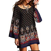 FSSE Womens Boho Tribal Print Long Sleeve Loose Summer Beach Mini Dress