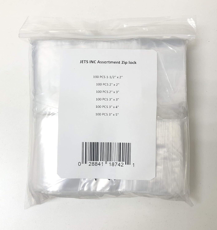 by Novel LZ 1.2 FRE 600 ZIPLOCK BAGS 6 ASSORTED SIZES CLEAR 2MIL BAGGIES 1.5x2 2x2 2x3 3x3 3x4 3x5