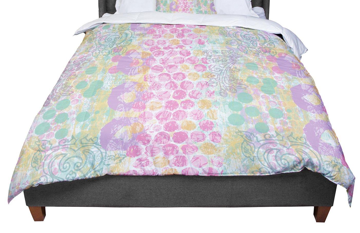 KESS InHouse Chickaprint 'Impression' Pastel Mix Queen Comforter, 88' X 88'