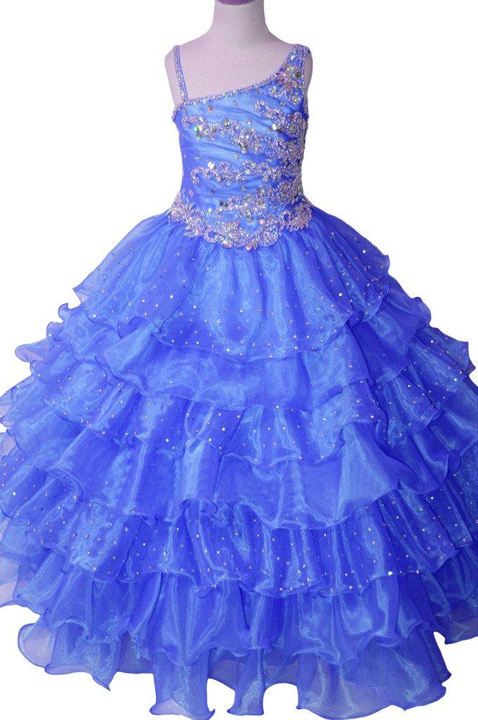 Yang Flower Girls One Shoulder Tiered Custom Made Pageant Dresses 16 US Blue