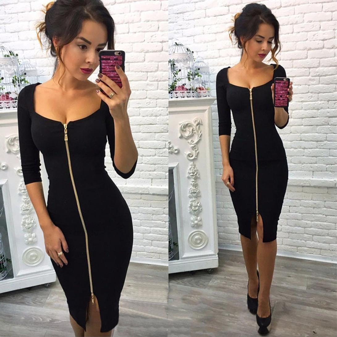 c4701ecf0aea Minisoya Elegant Women Wear To Work Dress Zipper Business Office Formal  Evening Party Club Bodycon Pencil Dress at Amazon Women's Clothing store: