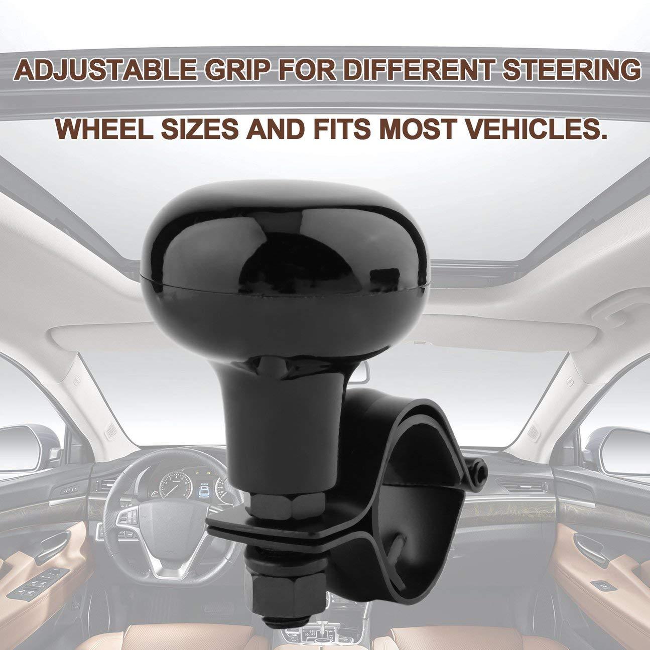 Volant de voiture Poign/ée de commande /à billes Poign/ée de voiture Bouton de rotation Aide au retournement Car Styling Commande manuelle Volant adapt/é /à la plupart des v/éhicules noir