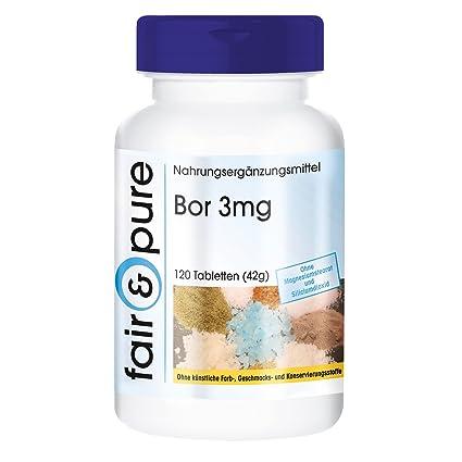 120 comprimidos vegetarianas de boro (3 mg) - Con tetraborato de sodio - Sustancia