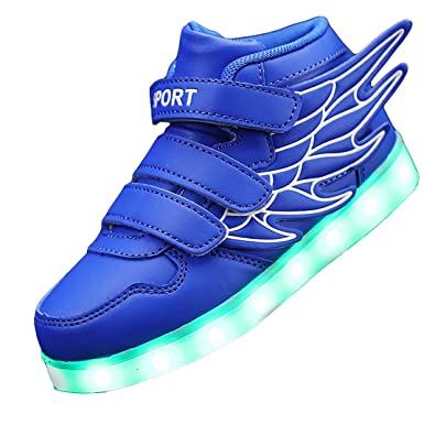 Gaorui Kid Boy Girl LED Light up Sneaker Athletic Wings Shoe High Student  Dance Boot USB