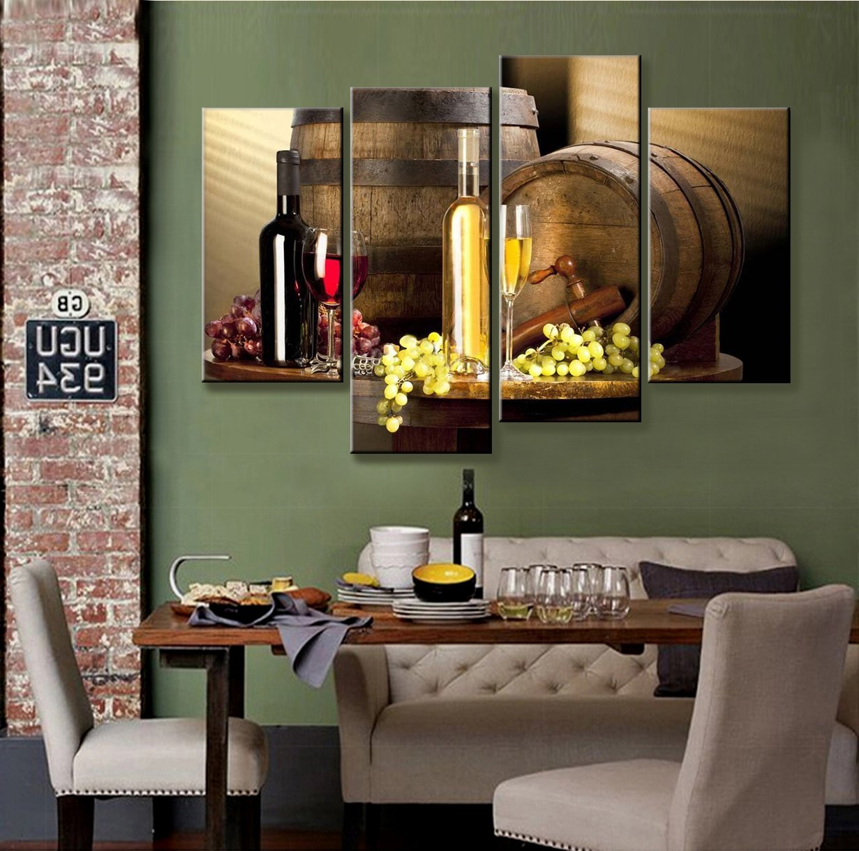 Kitchen Wine Wall Art: Grape And Wine Canvas Wall Art- Framed Wine Canvas Print