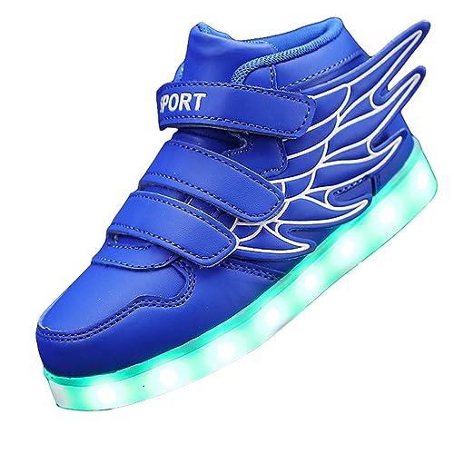 00d1ed144ffa Gaorui Kid boy Girl LED Light up Sneaker Athletic Wings Shoe High Student  Dance Boot USB