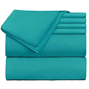 Hearth & Harbor 6 Piece Bed Sheet Set Extra Deep Pocket, Fits Mattress from 18-24 inces Depth, Queen, Teal