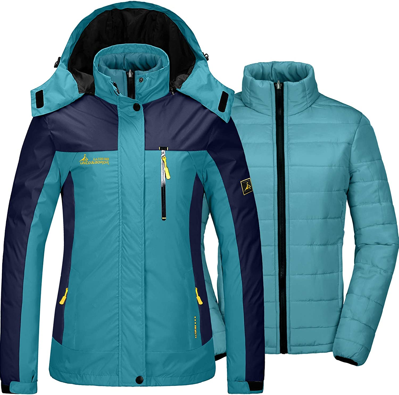 GEMYSE Chaqueta de esquí 3 en 1 Impermeable para Mujer Chaqueta de Invierno a Prueba de Viento Impermeable Chaqueta de Lluvia con Capucha