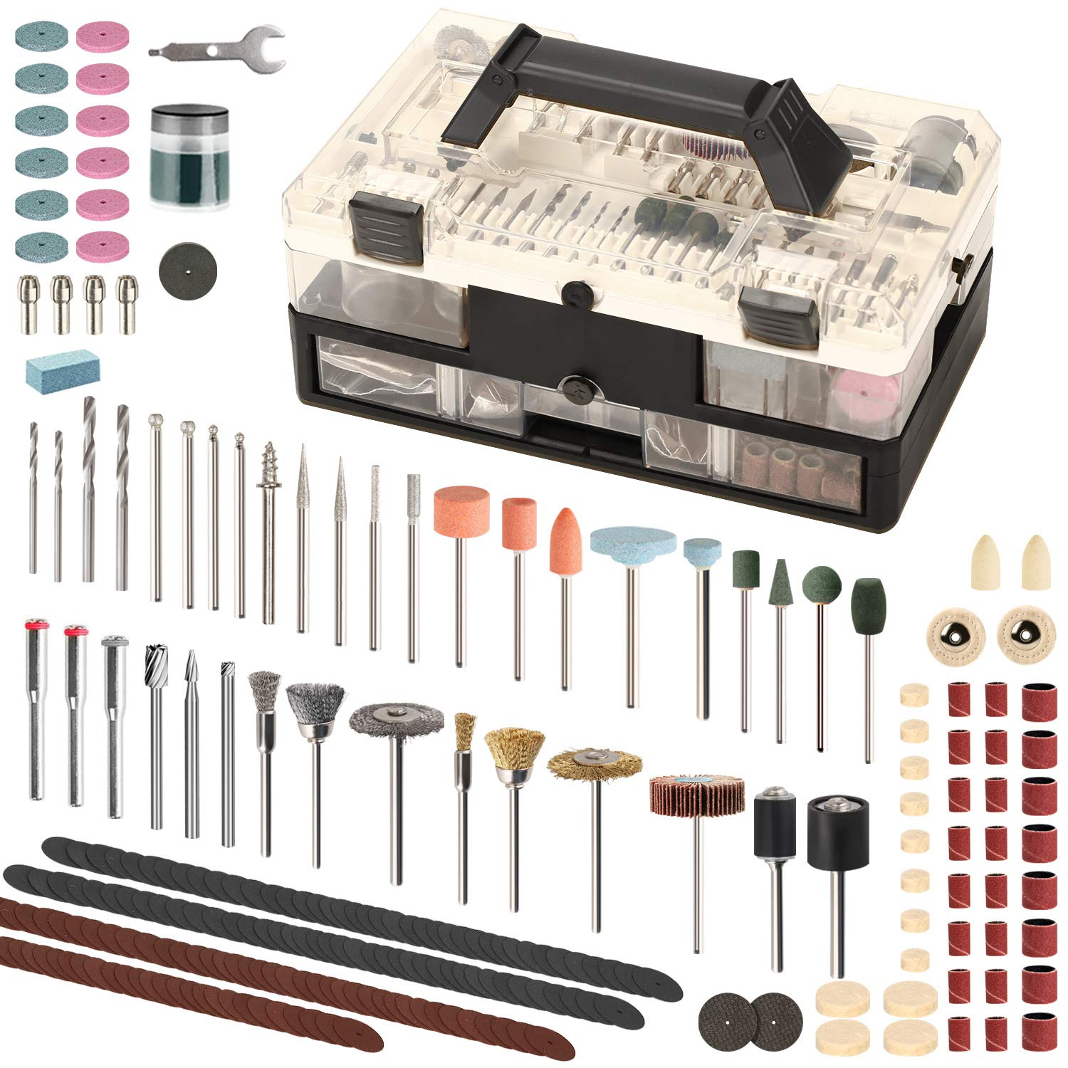 SPTA Rotary Tool Accessories Kit, 349Pcs Grinding Polishing Drilling Kits, 1/8'' Shank Electric Grinder Universal Fitment for Easy Cutting, Grinding, Sanding, Sharpening, Carving & Polishing