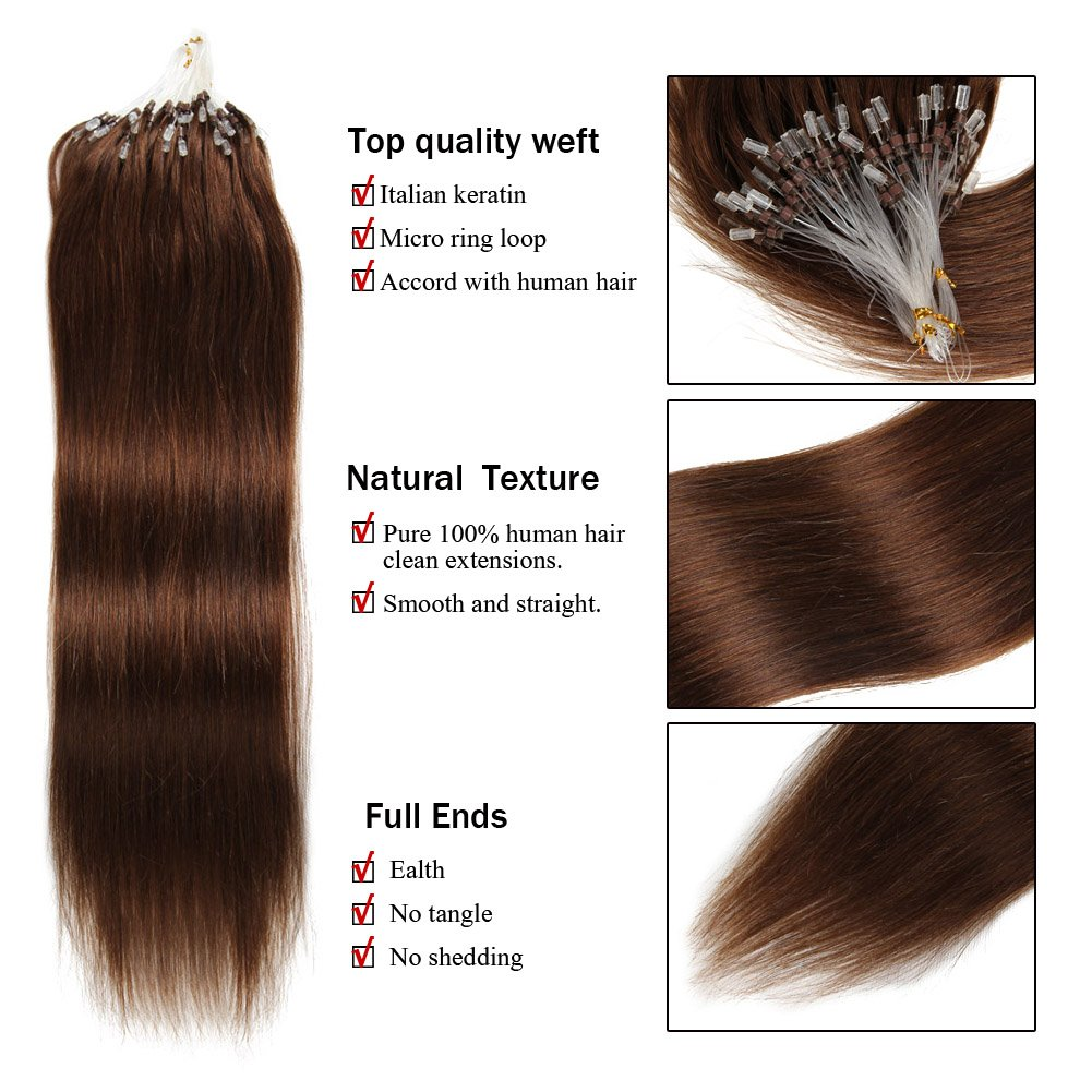 Micro Loop Ring Human Hair Extensions 16182022 1gs 40g 50gset
