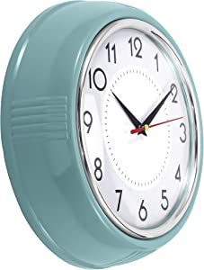 Lumuasky Retro Wall Clock 9.5 Inch Kitchen Vintage Design Round Silent Non Ticking Battery Operated Quality Quartz Clock(Light Blue)