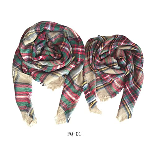 3b960fe75fbc8 Fashion Mother Daughter Matching Scarfs Mommy and Me Scarf Set Plaid Square  Scarf Towel Winter Activity