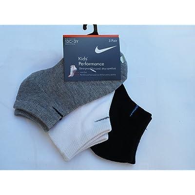 Nike Boys 3 Pairs/Pack Low Cut Socks, 13C-3Y, Black/White/Grey