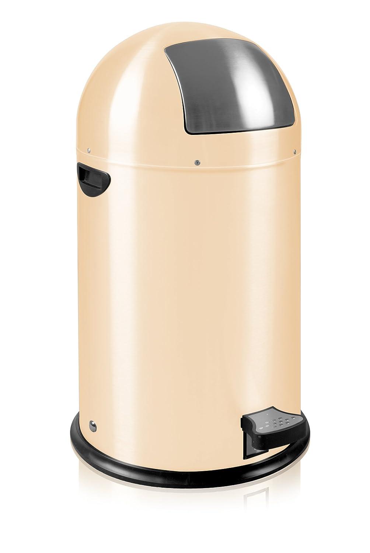 EKO Kickcan Runder Tritt-Mülleimer aus Metall, Verzinkter Inneneimer, 33 Liter, crème crème VB 964800