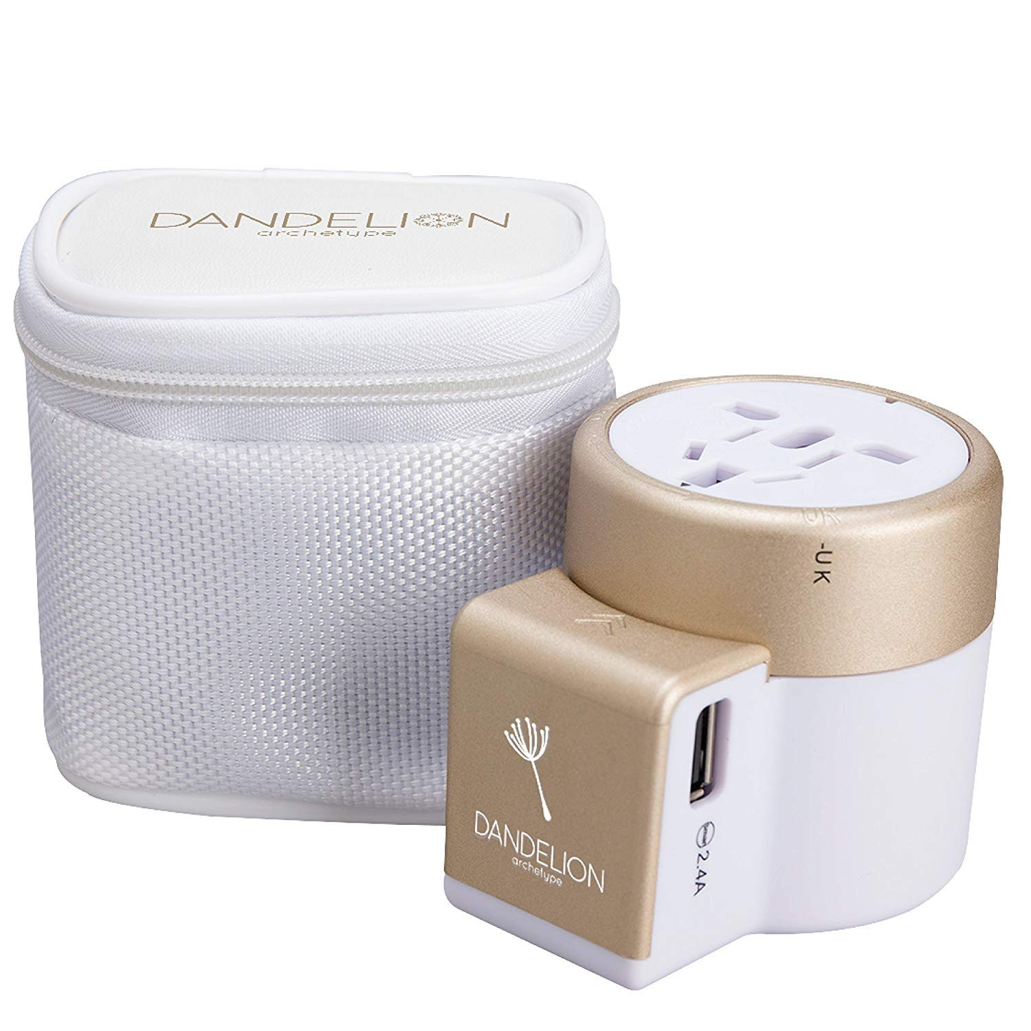 DANDELION Travel Adapter Outlet Adapter Traveler Accessory Universal Wall Charger 2 USB Ports  UK  USA  AU  Europe  Asia  International Power Plug Adaptor for Multiple Socket Type C  A  I  G  Gold