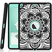 iPad 5th/6th Generation Case, Hocase Heavy Duty Shock Absorbent Rubber+Hard Plastic Dual Layer Protective Case w/ Mandala Floral Print and Kickstand for iPad 9.7 2018/2017 - Black/Mint Green