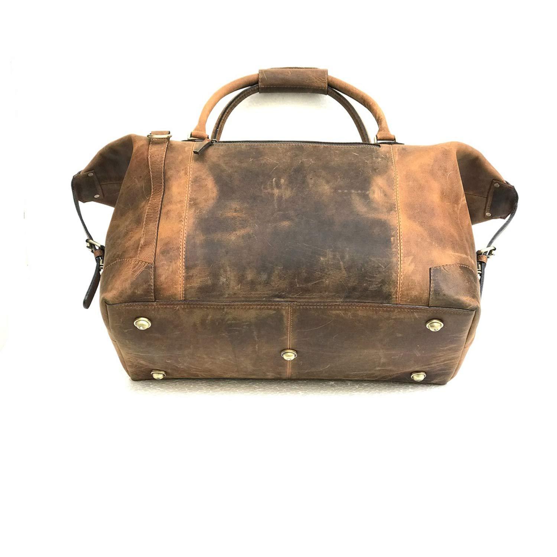 c51212abbe6d Zakara Full Grain Buffalo Genuine Brown Leather Duffle Bag 20 inches ...