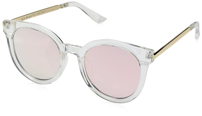 1a80090d5a9c A.J. Morgan Women s Hi There Round Sunglasses Crystal Pink Mirror 50 mm