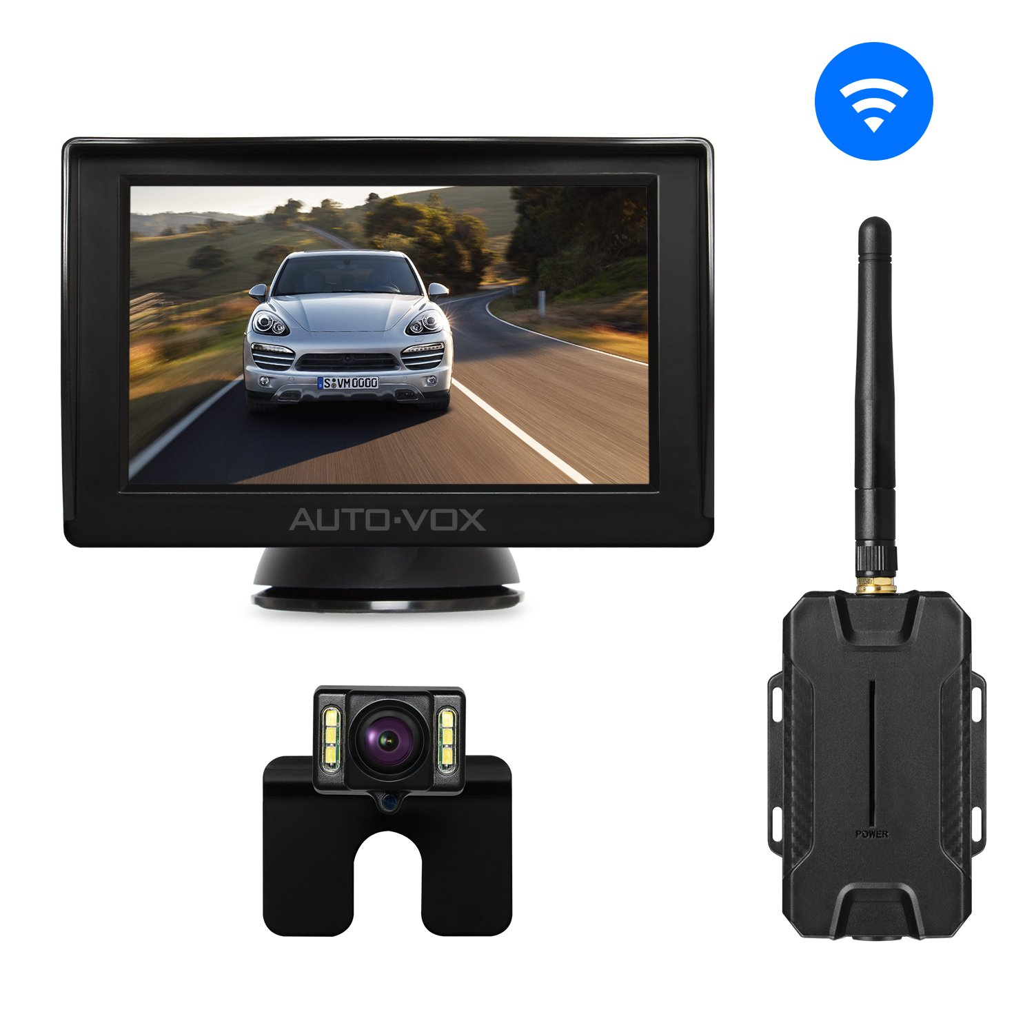AUTO-VOX W1 Wireless Backup Camera Kit, Back Up Car Camera with 4.3'' LCD Monitor+ IP 68 Waterproof Rear View License Plate Reversing Camera LED Super Night Vision for Cars,Truck,Van,Camper