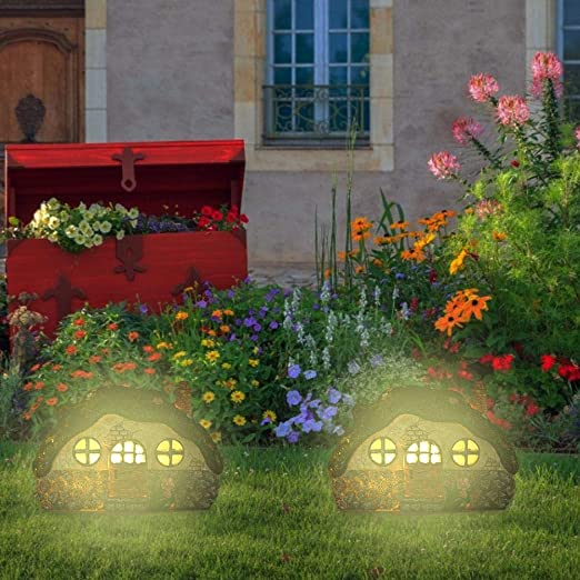 Sroomcla Decoración De Jardín con Luz LED para Exteriores con Energía Solar, Modelo De Casa De Hadas Divertidas Focos Solares para Exteriores LED Luces De Jardín para Paisajes Impermeables innate: Amazon.es: Hogar