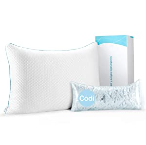 Adjustable Cool Pillow for Sleeping with Patented Triple-Vent Structure | Rated Best Pillows for Stomach Sleepers | Certipur-US Cold Gel Shredded Memory Foam | Standard Size, 18 x 25 Inch